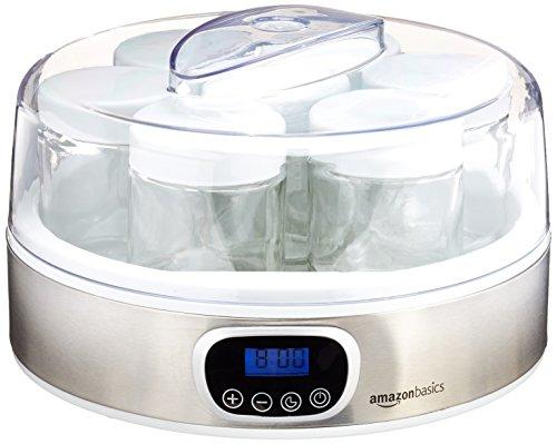 AmazonBasics - Yogurtera con temporizador y 7 tarros